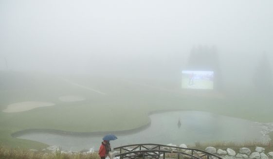 The third round is suspended due to fog, during the Omega European Masters Golf Tournament in Crans-Montana, Switzerland, Saturday, Sept. 9, 2017. (Alexandra Wey/Keystone via AP)