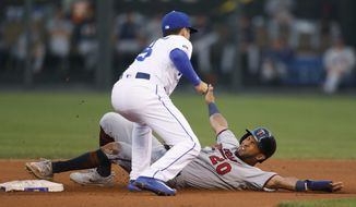 Minnesota Twins' Eddie Rosario (20) is tagged out by Kansas City Royals second baseman Whit Merrifield (15) on an attempted steal of second during the fourth inning of a baseball game at Kauffman Stadium in Kansas City, Mo., Saturday Sept. 9, 2017. (AP Photo/Colin E. Braley)