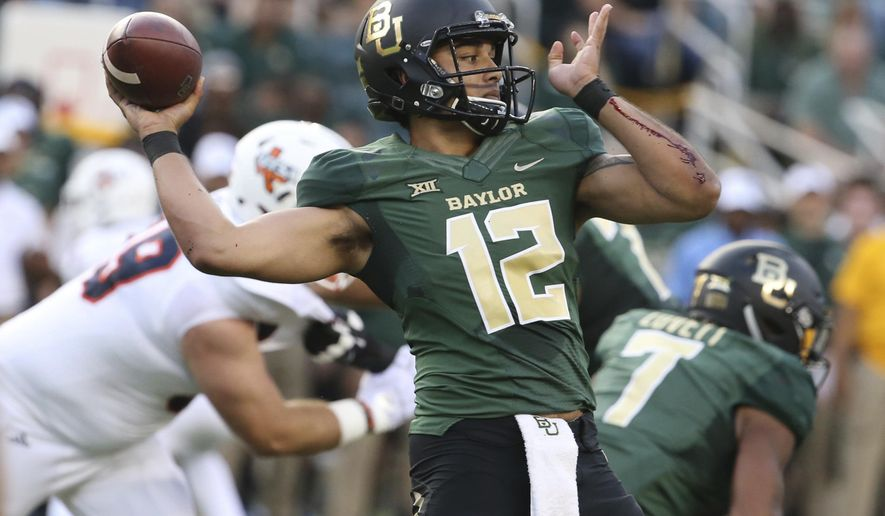 Baylor quarterback Anu Solomon (12) throws downfield against UTSA during the first half of an NCAA college football game Saturday, Sept. 9, 2017, in Waco, Texas. (Rod Aydelotte/Waco Tribune Herald, via AP)