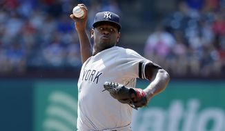 New York Yankees starting pitcher Luis Severino throws to the Texas Rangers in the first inning of a baseball game, Saturday, Sept. 9, 2017, in Arlington, Texas. (AP Photo/Tony Gutierrez)