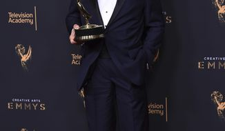 "Gerald McRaney poses in the press room with the award for outstanding guest actor in a drama series for ""This is Us"" during night two of the Creative Arts Emmy Awards at the Microsoft Theater on Sunday, Sept. 10, 2017, in Los Angeles. (Photo by Richard Shotwell/Invision/AP)"