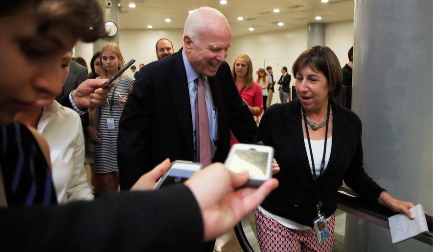 After casting the deciding thumbs-down on the GOP's repeal-and-replace effort on Obamacare in July, Sen. John McCain, Arizona Republican, is now supporting a plan by his GOP colleagues to allow states to use their Obamacare money as they see fit. (Associated Press)