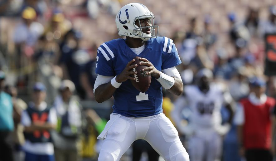 Indianapolis Colts quarterback Jacoby Brissett looks to throw a pass during the second half of an NFL football game against the Los Angeles Rams, Sunday, Sept. 10, 2017, in Los Angeles. (AP Photo/Jae C. Hong)