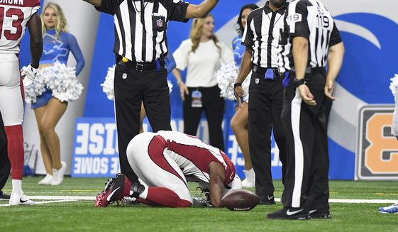 Arizona Cardinals running back David Johnson (31) is injured against the Detroit Lions during the second half of an NFL football game in Detroit, Sunday, Sept. 10, 2017. Johnson left the field for x-rays. (AP Photo/Jose Juarez)