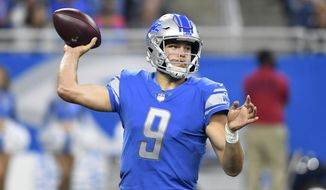 Detroit Lions quarterback Matthew Stafford (9) throws against the Arizona Cardinals during the first half of an NFL football game in Detroit, Sunday, Sept. 10, 2017. (AP Photo/Jose Juarez)