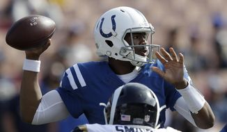 Indianapolis Colts quarterback Jacoby Brissett passes during the second half of an NFL football game against the Los Angeles Rams, Sunday, Sept. 10, 2017, in Los Angeles. (AP Photo/Jae C. Hong)