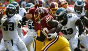 Washington Redskins running back Rob Kelley (20) rushes the ball in the first half of an NFL football game against the Philadelphia Eagles, Sunday, Sept. 10, 2017, in Landover, Md. (AP Photo/Alex Brandon)