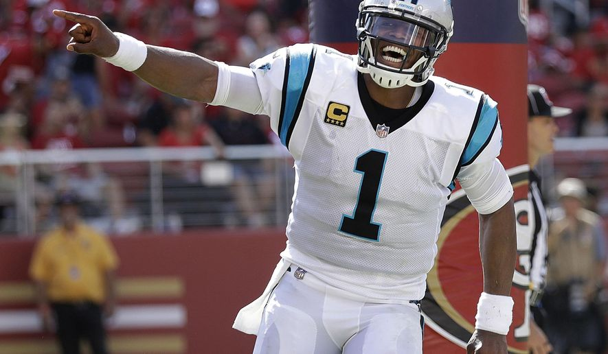 Carolina Panthers quarterback Cam Newton (1) celebrates after Jonathan Stewart scored a touchdown against the San Francisco 49ers during the second half of an NFL football game in Santa Clara, Calif., Sunday, Sept. 10, 2017. (AP Photo/Marcio Jose Sanchez)