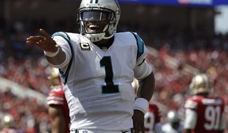Carolina Panthers quarterback Cam Newton (1) celebrates after throwing a touchdown pass against the San Francisco 49ers during the first half of an NFL football game in Santa Clara, Calif., Sunday, Sept. 10, 2017. (AP Photo/Marcio Jose Sanchez)