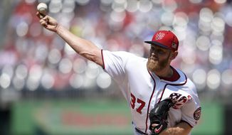 Washington Nationals starting pitcher Stephen Strasburg delivers during the second inning of a baseball game against the Philadelphia Phillies, Sunday, Sept. 10, 2017, in Washington. (AP Photo/Nick Wass)