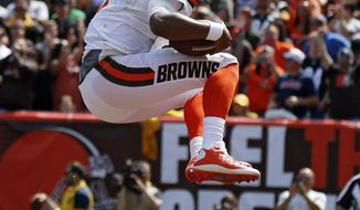 Cleveland Browns quarterback DeShone Kizer celebrates after a 1-yard touchdown during the first half of an NFL football game against the Pittsburgh Steelers, Sunday, Sept. 10, 2017, in Cleveland. (AP Photo/Ron Schwane)