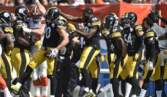 Pittsburgh Steelers linebacker T.J. Watt (90) celebrates with teammates after making an interception during the second half of an NFL football game against the Cleveland Browns, Sunday, Sept. 10, 2017, in Cleveland. (AP Photo/David Richard)