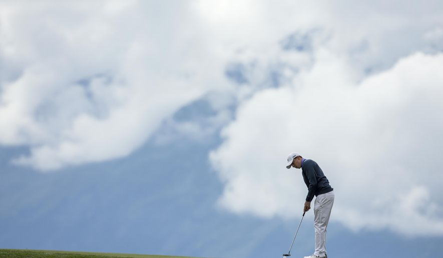 Matthew Fitzpatrick of England tees off during the final round of the Omega European Masters Golf Tournament in Crans-Montana, Switzerland, Sunday, Sept. 10, 2017. (Alexandra Wey/Keystone via AP)