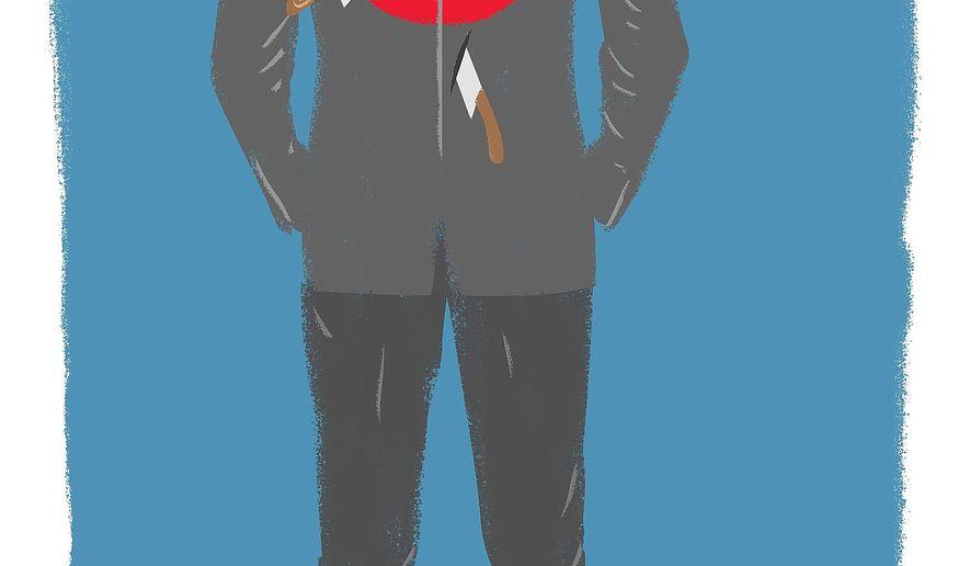 Illustration on Paul Ryan's predicament by Linas Garsys/The Washington Times