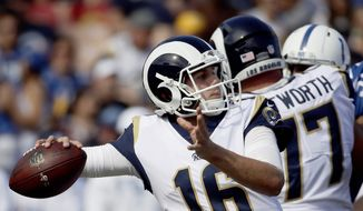 Los Angeles Rams quarterback Jared Goff (16) throws the ball against the Indianapolis Colts during the second half of an NFL football game Sunday, Sept. 10, 2017, in Los Angeles. (AP Photo/Alex Gallardo) **FILE**