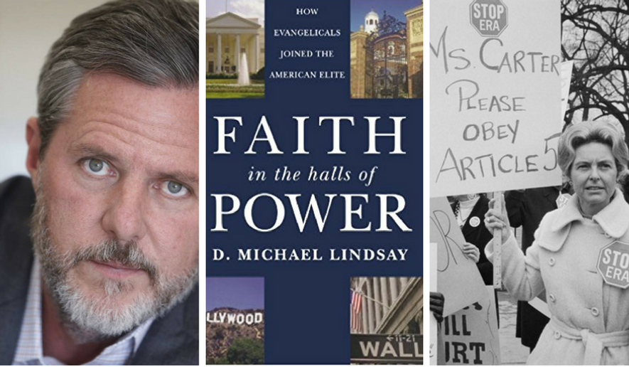 "(From left to right): Jerry Falwell, Jr.; cover of ""Faith in the Halls of Power,"" by Michael Lindsay; Phyllis Schlafly. Image by Scott Lamb"