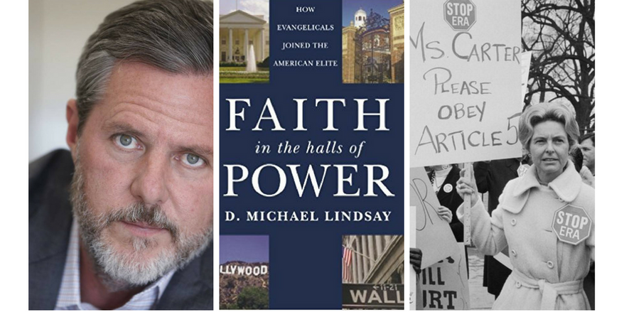 """(From left to right): Jerry Falwell, Jr.; cover of """"Faith in the Halls of Power,"""" by Michael Lindsay; Phyllis Schlafly. Image by Scott Lamb"""