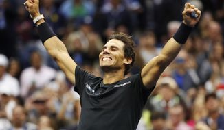 Rafael Nadal, of Spain, reacts after beating Kevin Anderson, of South Africa, to win the men's singles final of the U.S. Open tennis tournament, Sunday, Sept. 10, 2017, in New York. (AP Photo/Julio Cortez)