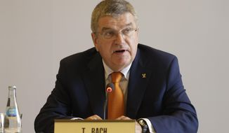 International Olympic Committee President Thomas Bach, addresses the opening IOC session in Lima, Peru, Monday, Sept. 11, 2017. Bach is in Lima for the Wednesday IOC session to vote on the host cities for the next Olympics. (AP Photo/Martin Mejia)