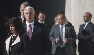 Vice President Mike Pence arrives at the Flight 93 Memorial for the site's 9/11 remembrance ceremonies on Monday, Sept. 11, 2017 in Shanksville, Pa. Pence's remarks included a salute to those lost in the tragedy and a reflection that if the passengers of Flight 93 had not organized to act, the plane could have crashed into the Capitol, where he was on Sept. 11th, 16 years ago. (Stephanie Strasburg/Pittsburgh Post-Gazette via AP)/Pittsburgh Post-Gazette via AP)