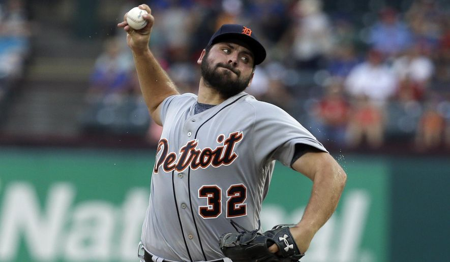 FILE - This Aug. 14, 2017 file photo shows Detroit Tigers starting pitcher Michael Fulmer throwing to the Texas Rangers in the first inning of a baseball game in Arlington, Texas. Fulmer will undergo elbow surgery on Tuesday, Sept. 12, 2017 and miss the remainder of the season, manager Brad Ausmus said Monday. Fulmer will have ulnar nerve transposition surgery performed by Dr. James Andrews in Florida. The should alleviate the numbness he had been experiencing with fingers on his right hand. (AP Photo/Tony Gutierrez, file)
