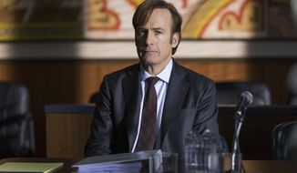 "This image released by AMC shows Bob Odenkirk in ""Better Call Saul."" The program is nominated for an Emmy Award for outstanding drama series. The Emmy Awards ceremony, airing Sept. 17 on CBS, will be hosted by Stephen Colbert. (Michele K. Short/AMC via AP)"
