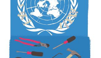 Illustration on improving the U.N. by Linas Garsys/The Washington Times