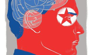 Illustration on North Korea's martial mentality by Linas Garsys/The Washington Times