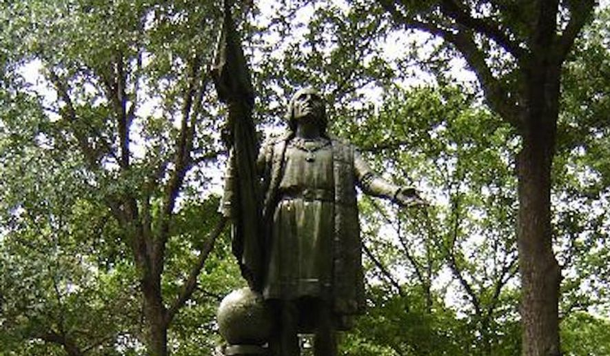 """The Christopher Columbus statue in New York City's Central Park was found vandalized Tuesday morning, with the Italian explorer's hands painted red and an ominous hashtag: """"#SomethingsComing."""" (nycgovparks.org)"""