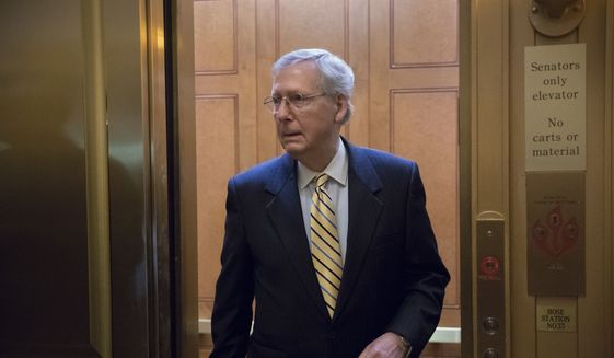 Senate Majority Leader Mitch McConnell will tell any Republican holdouts that they will have to explain to the party's conservative base why they are standing in the way of fulfilling a campaign promise. (Associated Press/File)