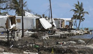 Destroyed trailers are seen at the Seabreeze trailer park along the Overseas Highway in the Florida Keys on Tuesday, Sept. 12, 2017. Florida is cleaning up and embarking on rebuilding from Hurricane Irma, one of the most destructive hurricanes in its history. (Al Diaz/Miami Herald via AP)