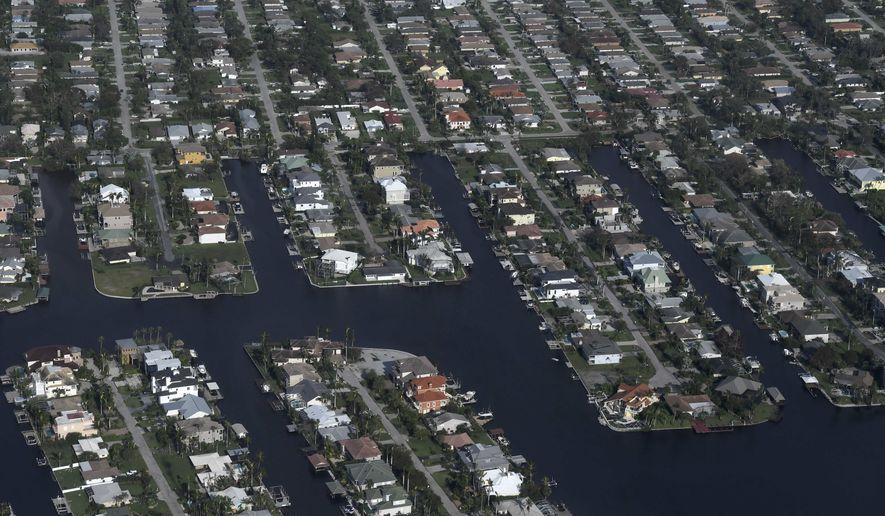 A view of the Florida Keys during the aftermath of Hurricane Irma, Monday, Sept. 11, 2017. (Matt McClain/The Washington Post via AP, Pool)