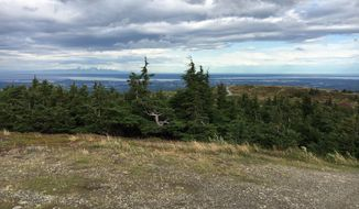 A view of Cook Inlet, downtown Anchorage, Alaska, and Mt. Sustina from Chugash State Park.  (Eric Althoff/The Washington Times)