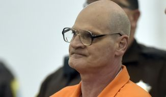 Lloyd Lee Welch Jr., stands during a plea agreement hearing for the killings of Sheila and Katherine Lyon in 1975, in Bedford County Circuit Court in Bedford, Va., Tuesday, Sept. 12, 2017. Welch, who pleaded guilty in the killing of the two young sisters from Maryland, was sentenced Tuesday to two 48-year prison terms, more than four decades after the girls vanished during a trip to a local shopping mall. (Lathan Goumas /News & Daily Advance via AP, Pool)