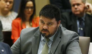 In this Feb. 22, 2017, photo, state Sen. Ralph Shortey, R-Oklahoma City, speaks during a Senate committee meeting in Oklahoma City. (AP Photo/Sue Ogrocki) ** FILE **
