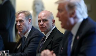 White House national security adviser H.R. McMaster, center, listens as President Donald Trump speaks during a meeting with Malaysian Prime Minister Najib Razak in the Cabinet Room of the White House, Tuesday, Sept. 12, 2017, in Washington. (AP Photo/Alex Brandon)