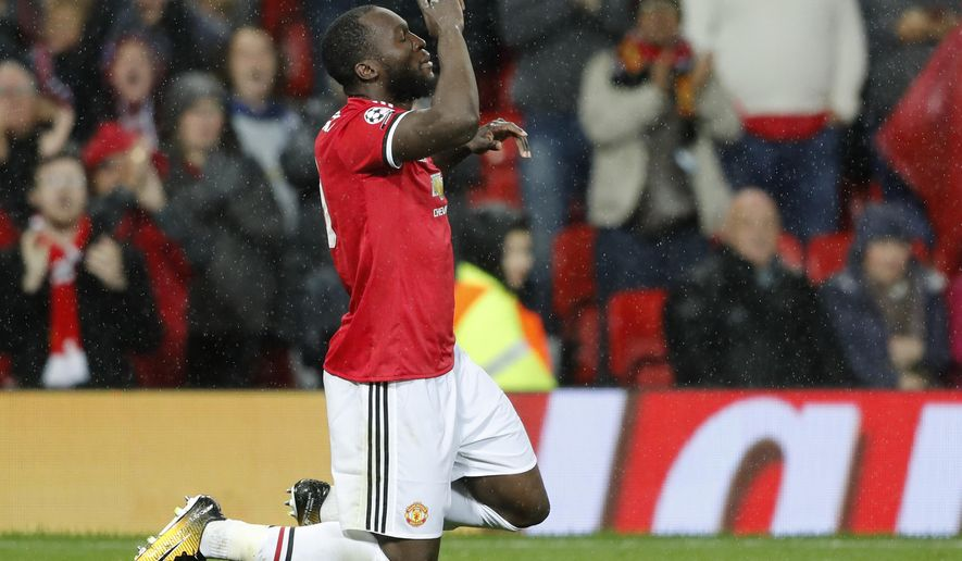 Manchester United's Romelu Lukaku, celebrates his goal during the Champions League group A soccer match between Manchester United and Basel, at the Old Trafford stadium in Manchester, Tuesday, Sept. 12, 2017. (AP Photo/Frank Augstein)