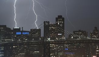 Seen from Oakland, Calif., lightning forks over the San Francisco skyline on Monday, Sept. 11, 2017. (AP Photo/Noah Berger)