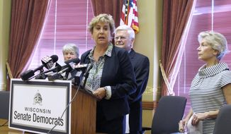 Wisconsin Senate Democratic Minority Leader Jennifer Shilling speaks at a news conference Tuesday, Sept. 12, 2017, in Madison, Wis., where she said Democrats could support a $3 billion incentive package for electronics giant Foxconn Technology Group if changes were made to protect taxpayers and the environment. (AP Photo/Scott Bauer)
