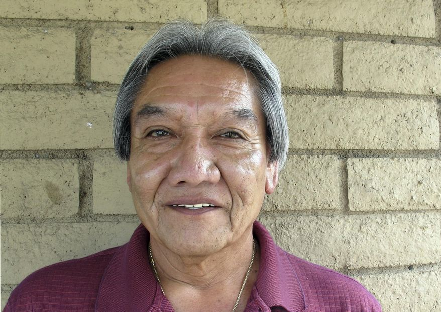 This Aug. 17, 2017 photo shows David Norton Talayumptewa, a candidate for chairman of the Hopi Tribe based in Kykotsmovi, Ariz. Hopis are voting Thursday to narrow candidates in a primary election. Whoever is chosen in November will lead the small northern Arizona tribe in a difficult time of projected revenue losses and harsh negotiations over water rights. (AP Photo/Felicia Fonseca)