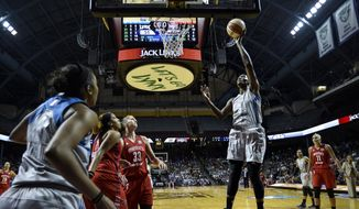 Minnesota Lynx center Sylvia Fowles (34) scores a basket in the final seconds of the first half of a WNBA basketball game against the Washington Mystics, Tuesday, Sept. 12, 2017 in Minneapolis. (Aaron Lavinsky/Star Tribune via AP)