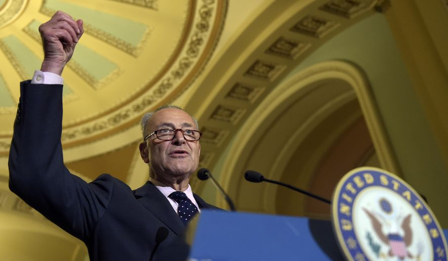 Senate Minority Leader Sen. Charles Schumer of N.Y., speaks following a Democratic policy luncheon on Capitol Hill in Washington, Tuesday, Sept. 12, 2017. (AP Photo/Susan Walsh)