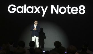 Koh Dong-jin, president of mobile business at Samsung Electronics, speaks during a media day for Galaxy Note 8 in Seoul, South Korea, Tuesday, Sept. 12, 2017. Samsung Electronics says its aims to launch a foldable smartphone next year under its Galaxy Note brand. Koh said Tuesday that the company is currently setting its eyes on 2018 to release a smartphone with a bendable display but there are several hurdles it has to overcome. (AP Photo/Lee Jin-man)