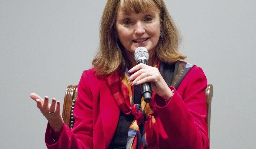 State House Speaker Beth Harwell, R-Nashville, speaks at a gubernatorial forum hosted by the Tennessee Business Roundtable in Nashville, Tenn., on Tuesday, Sept. 12, 2017. (AP Photo/Erik Schelzig)