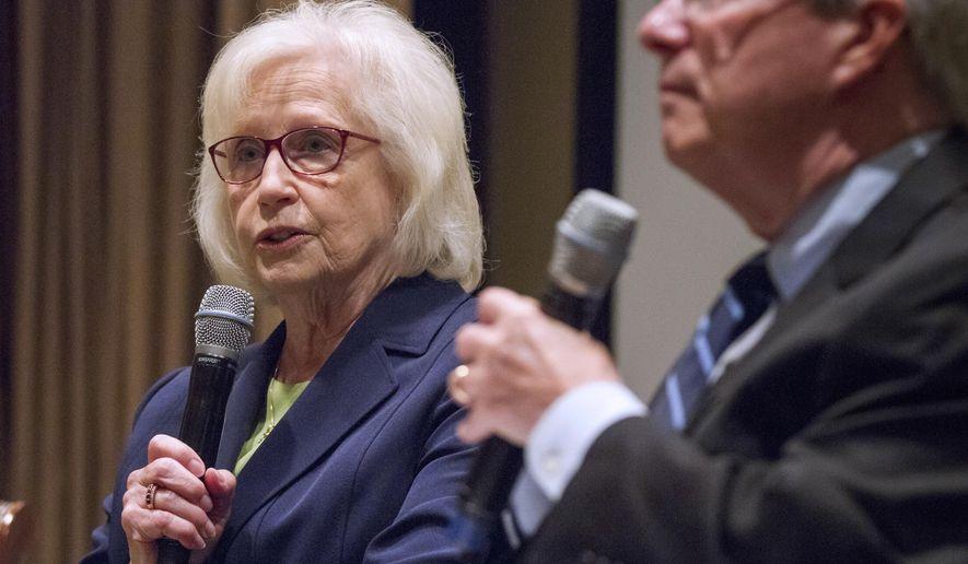 Former state Sen. Mae Beavers, R-Mt. Juliet, speaks at a gubernatorial forum hosted by the Tennessee Business Roundtable in Nashville, Tenn., on Tuesday, Sept. 12, 2017. (AP Photo/Erik Schelzig)