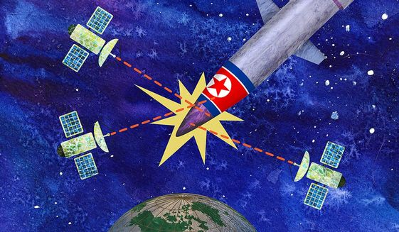 Satellite Defense Against Korea Missiles Illustration by Greg Groesch/The Washington Times