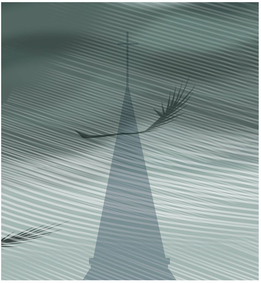 Illustration on natural disasters and God by Alexander Hunter/The Washington Times