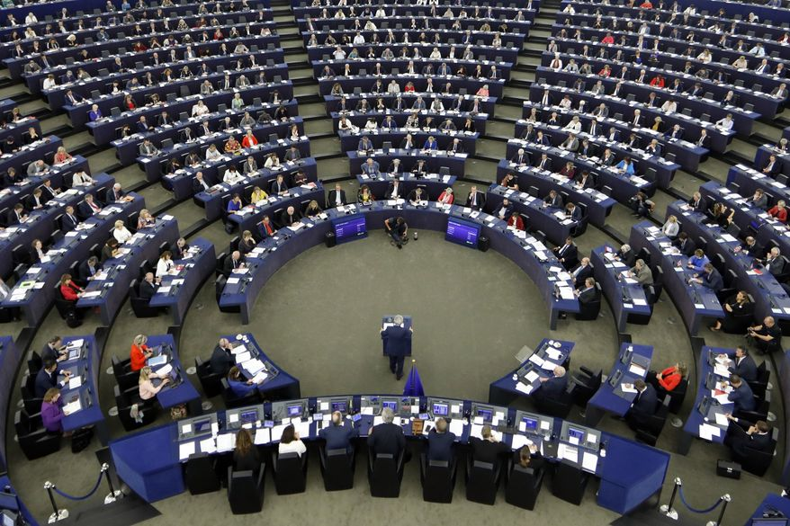 European Commission President Jean-Claude Juncker addresses the members of the European Parliament in Strasbourg, eastern France, to outline his reform plans for the European Union in the so-called State of the Union debate, Wednesday, Sept. 13, 2017. (AP Photo/Jean-Francois Badias)