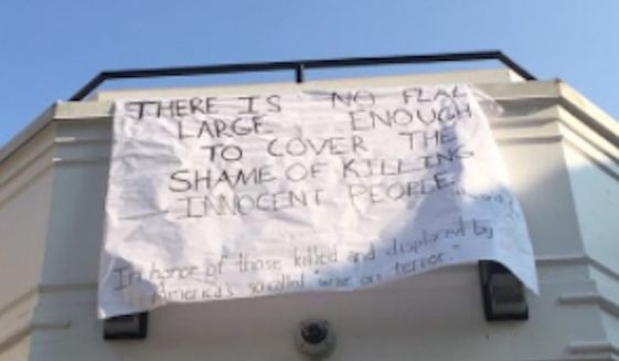 "Amherst College has criticized an anti-war banner students unfurled on campus marking the September 11 terrorist attacks as ""deeply insensitive."" (Twitter/@MaxNikitas)"