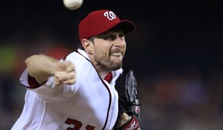 Washington Nationals starting pitcher Max Scherzer (31) throws during the seventh inning of a baseball game against the Atlanta Braves in Washington, Wednesday, Sept. 13, 2017. (AP Photo/Manuel Balce Ceneta)
